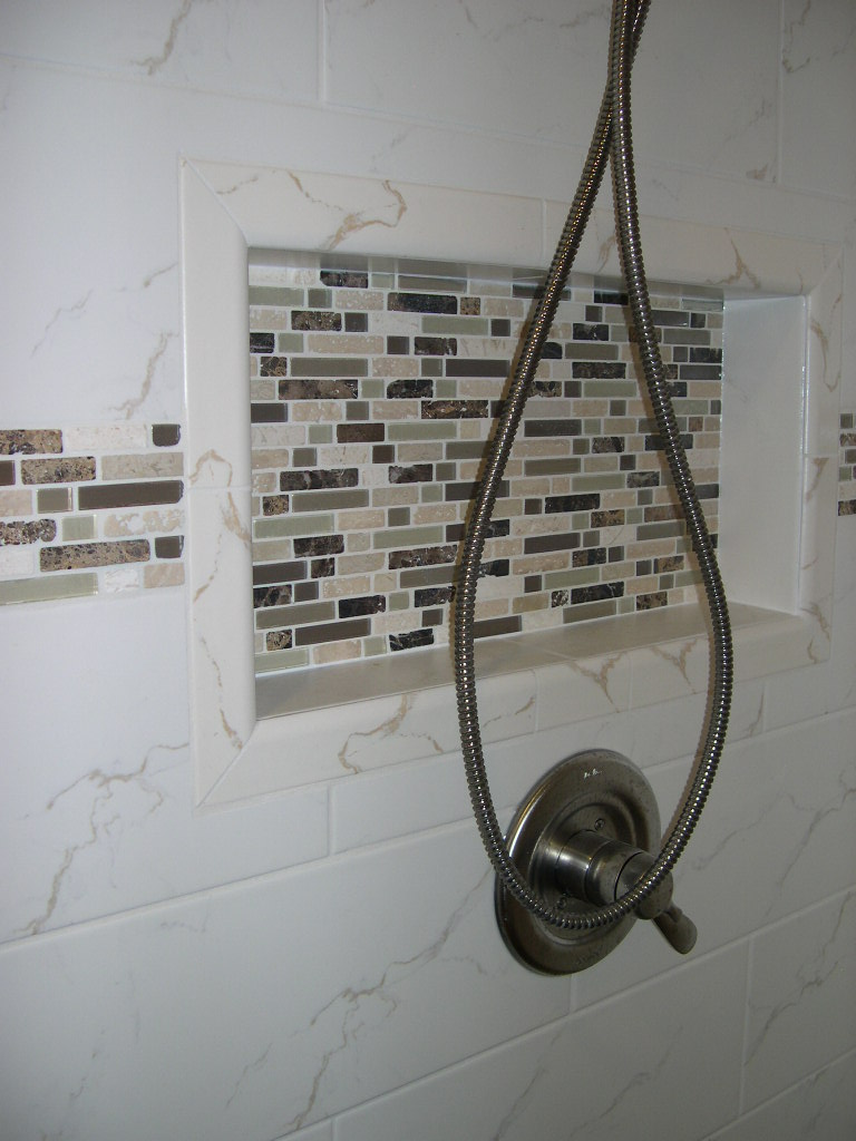 Glass and stone shower niche
