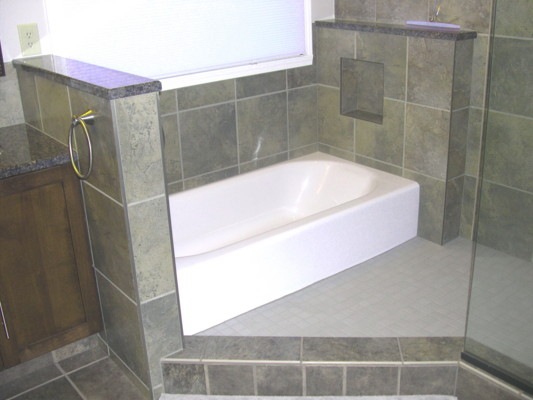 tub in shower area